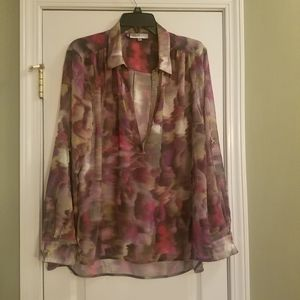 Jennifer Lopez Multicolored Sheer Blouse, Size XL